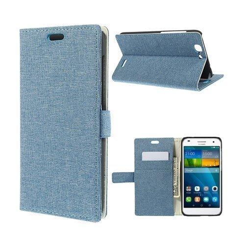 Garborg Huawei Ascend G7 Kangas Nahkakotelo Vaalea Sininen