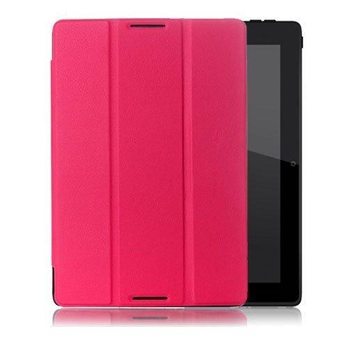 Garff Lenovo Ideatab A10-70 Leather Tri-Fold Case Hot Pink