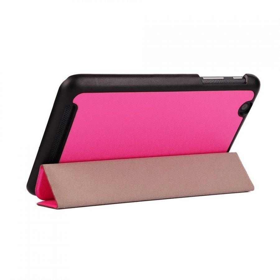 Garff Silk Acer Iconia One 7 Kolmesti Taittuva Nahkakotelo Kuuma Pinkki