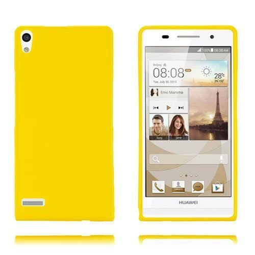 Gelcase Keltainen Huawei Ascend P6 Suojakuori