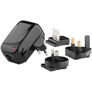 Goobay Dual USB Travel Charger EU UK USA AU 2A