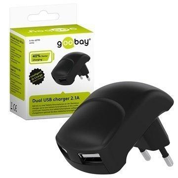 Goobay Universaali Dual USB Smart Matkalaturi Musta