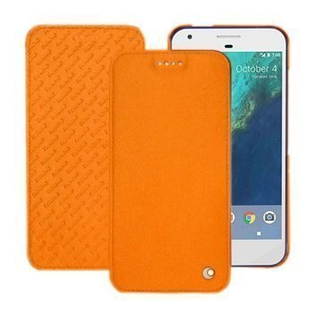 Google Pixel Noreve Tradition D Flip Leather Case Oranssi