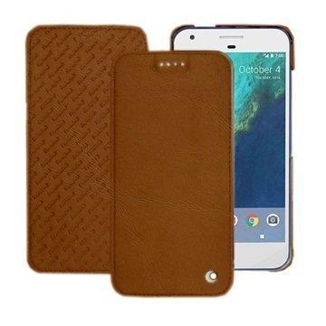 Google Pixel Noreve Tradition D Flip Leather Case Ruskea