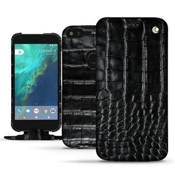 Google Pixel XL Noreve Tradition Flip Case Crocodile Musta
