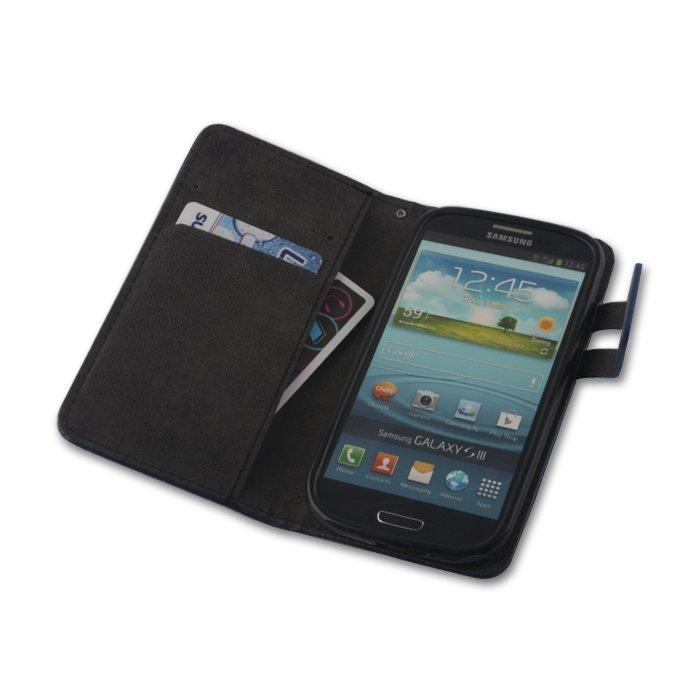 GreenGo Samsung Galaxy S3 Lompakkomallinen Suojakuori Laadukasta Keinonahkaa Sininen