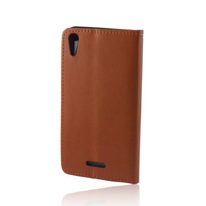 GreenGo Samsung Galaxy Trend / Trend Plus Lompakkomallinen Suojakuori Laadukasta Keinonahkaa Camel
