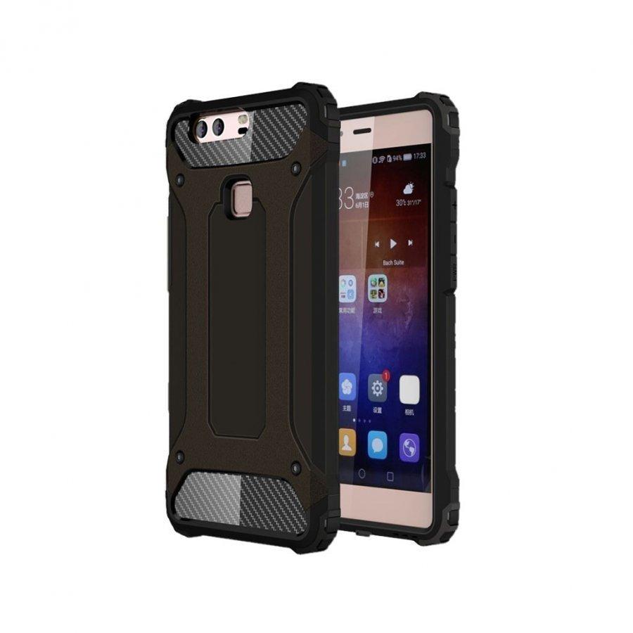Hårderåde Huawei P9 Plus Joustava Panssari Muovikuori Musta
