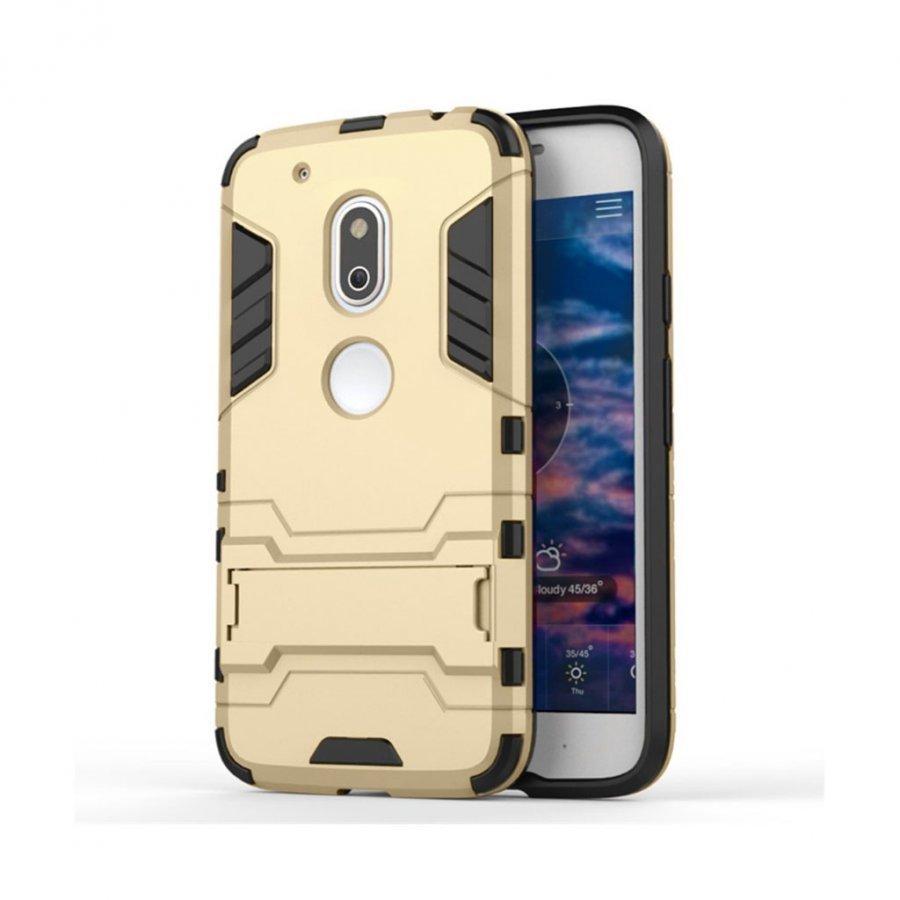 Hårderåde Motorola G4 Play Joustava Hybridi Muovikuori Kulta