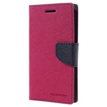 HTC 10 Mercury Goospery Fancy Diary Lompakkokotelo Kuuma Pinkki / Tummansininen