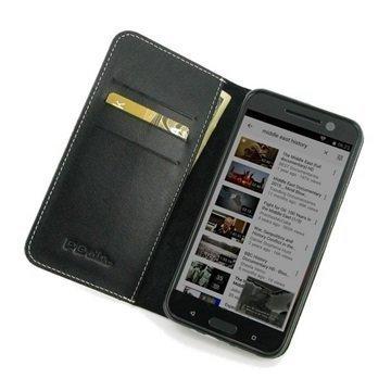 HTC 10 PDair Deluxe Book Type Nahkakotelo Musta