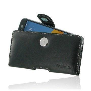 HTC 10 PDair Vaakasuuntainen Nahkakotelo Musta