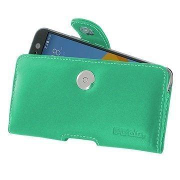 HTC 10 PDair Vaakasuuntainen Nahkakotelo Turkoosi