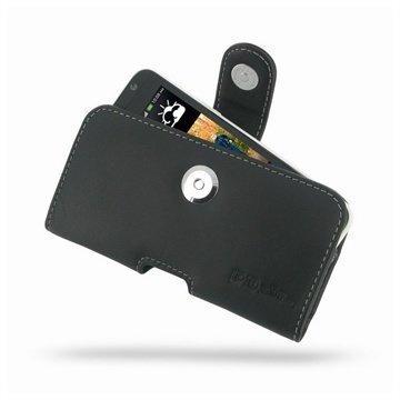HTC Desire 300 PDair Vaakakotelo Nahka Musta