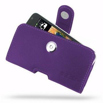 HTC Desire 300 PDair Vaakakotelo Nahka Violetti