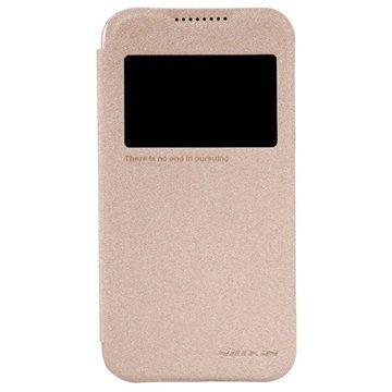 HTC Desire 320 Nillkin Sparkle Series Ikkunallinen Läppäkotelo Kulta