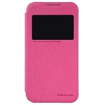 HTC Desire 320 Nillkin Sparkle Series Ikkunallinen Läppäkotelo Kuuma Pinkki