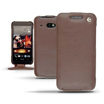 HTC Desire 601 Noreve Tradition Flip Leather Case Chestnut