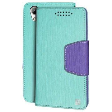 HTC Desire 626 Beyond Cell Infolio Lompakkokotelo Mint / Violetti