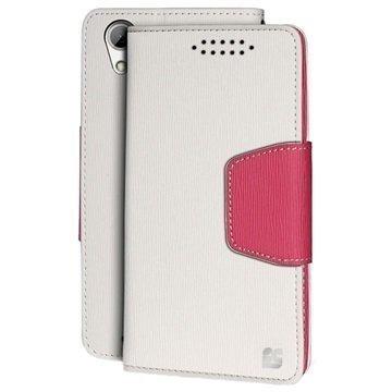 HTC Desire 626 Beyond Cell Infolio Lompakkokotelo Valkoinen / Pinkki