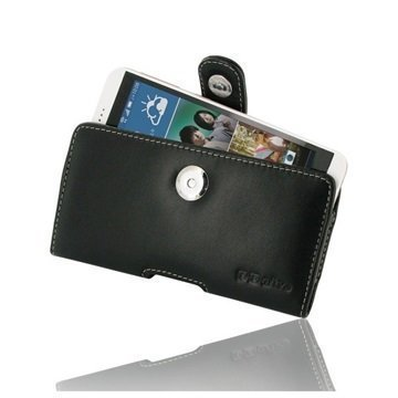 HTC Desire 626 PDair Vaakasuuntainen Nahkakotelo Musta