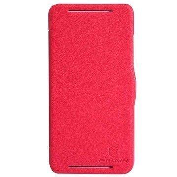 HTC Desire 700 Dual Sim Nillkin Fresh Series Läpällinen Nahkakotelo Punainen