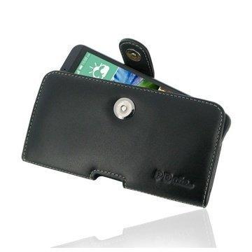 HTC Desire 816 PDair Vaakakotelo Nahka Musta