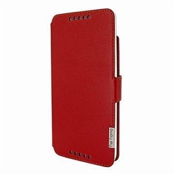 HTC Desire 816 Piel Frama Framaslim Nahkakotelo Punainen