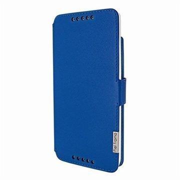 HTC Desire 816 Piel Frama Framaslim Nahkakotelo Sininen