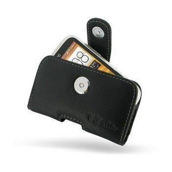 HTC Desire C PDair Vaakakotelo Nahka Musta