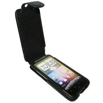 HTC Desire HD Piel Frama iMagnum Nahkakotelo Musta