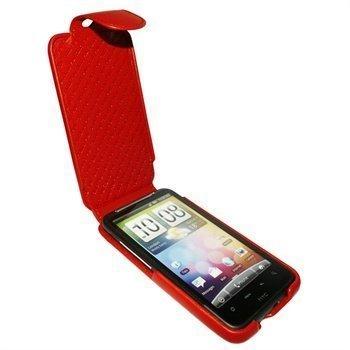 HTC Desire HD Piel Frama iMagnum Nahkakotelo Punainen