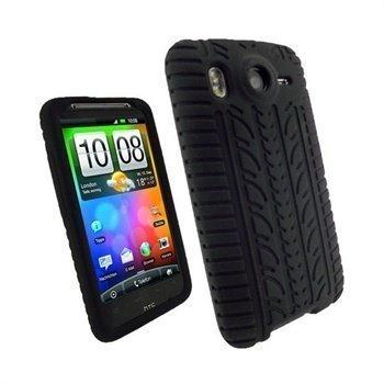 HTC Desire HD iGadgitz Rengaskuvioinen Silikonikotelo Musta