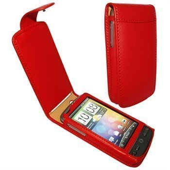 HTC Desire Piel Frama Classic Nahkakotelo Punainen
