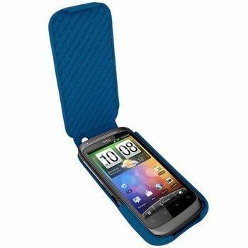 HTC Desire S Piel Frama iMagnum Nahkakotelo Sininen