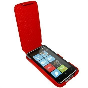 HTC HD7 Piel Frama iMagnum Nahkakotelo Punainen