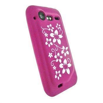 HTC Incredible S iGadgitz Kukkakuvioitu Silikonikotelo Pinkki / Valkoinen