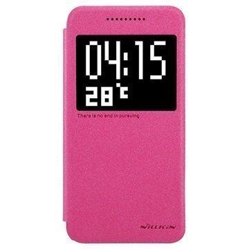 HTC One A9 Nillkin Sparkle Series Smart Ikkunallinen Läppäkotelo Kuuma Pinkki