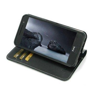 HTC One A9 PDair Deluxe Book Type Nahkakotelo Musta