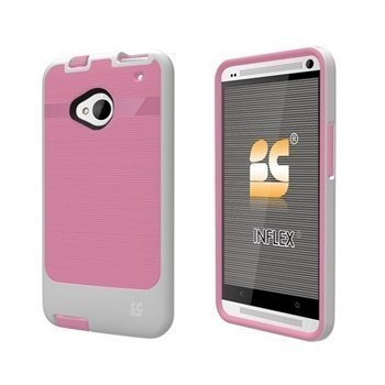 HTC One Beyond Cell InFlex TPU Suojakuori Vaaleanpunainen / Valkoinen