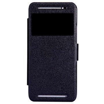 HTC One (E8) Nillkin Fresh Series Smart Avattava Nahkakotelo Musta