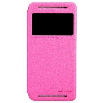 HTC One (E8) Nillkin Sparkle-sarjan Läpällinen Nahkakotelo Kuuma Pinkki