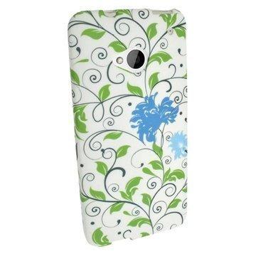 HTC One Igadgitz Floral Pattern TPU Kotelo Sininen