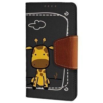 HTC One (M8) One (M8) Dual Sim Beyond Cell Infolio Design Nahkainen Lompakkokotelo Giraffe