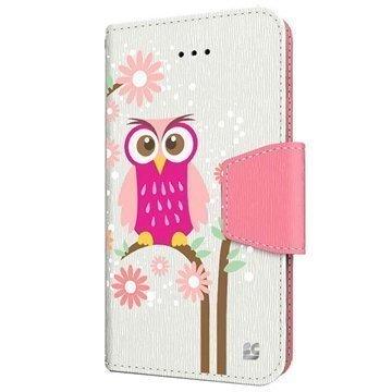 HTC One (M8) One (M8) Dual Sim Beyond Cell Infolio Design Nahkainen Lompakkokotelo Päivänkakkarapöllö