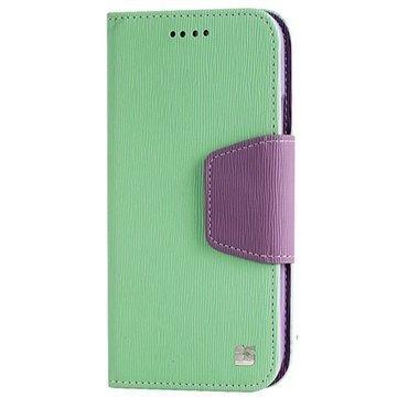HTC One (M8) One (M8) Dual Sim Beyond Cell Infolio Nahkainen Lompakkokotelo Minttu / Violetti