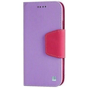 HTC One (M8) One (M8) Dual Sim Beyond Cell Infolio Nahkainen Lompakkokotelo Violetti / Pinkki
