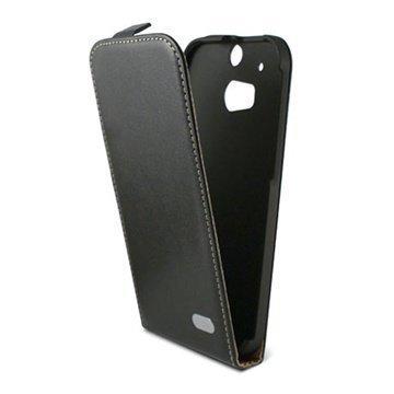 HTC One (M8) One (M8) Dual Sim Ksix Läpällinen Nahkakotelo Musta