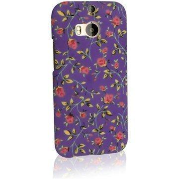 HTC One (M8) One (M8) Dual Sim iGadgitz Kukkaset Kovakotelo Purppura / Vaaleanpunainen