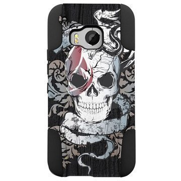 HTC One M9 Beyond Cell Hyber Shell Design Kotelo Grey Skull Tatoo